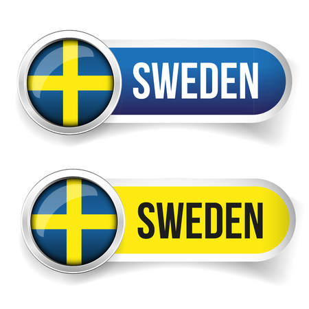 sweden: Sweden flag button vector
