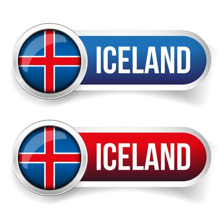 steel: Iceland steel flag button Illustration