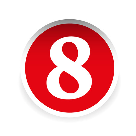 eight: Number eight red label vector