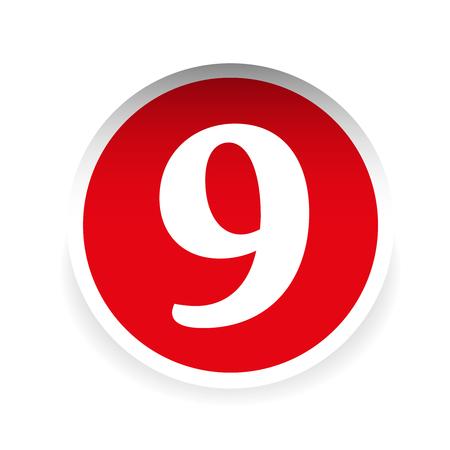 number nine: Number nine red label vector Illustration