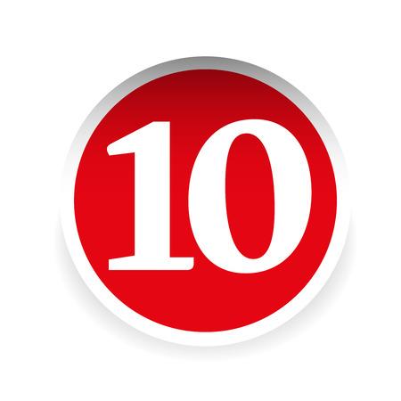 numero diez: El número diez etiqueta roja del vector Vectores