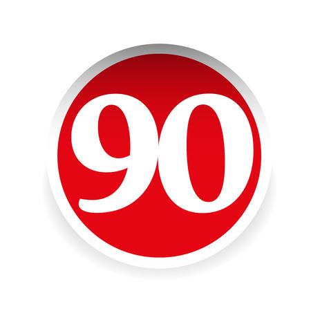 ninety: Number ninety red label vector Illustration