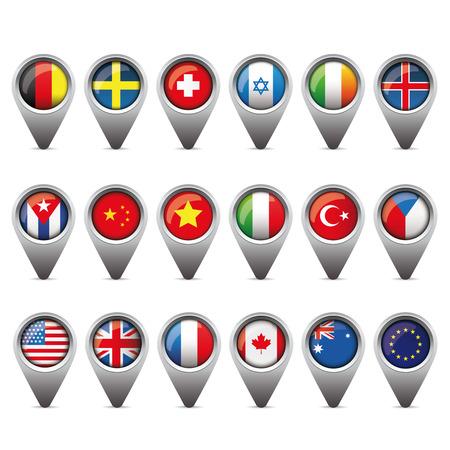 banderas del mundo puntero del conjunto vectpr