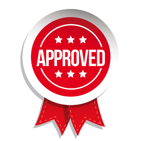 proved: Approved sign vector badge Illustration