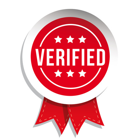 Verified badge vector with ribbon