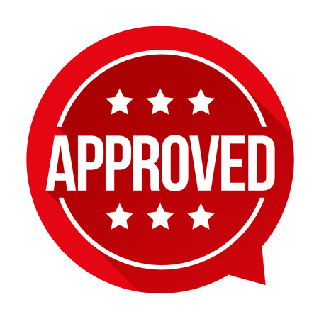 permission granted: Approved sign vector badge Stock Photo