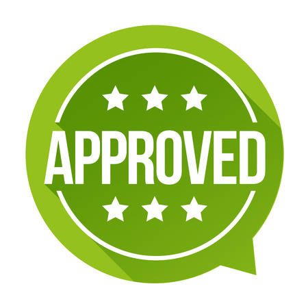 proved: Approved sign vector badge Stock Photo