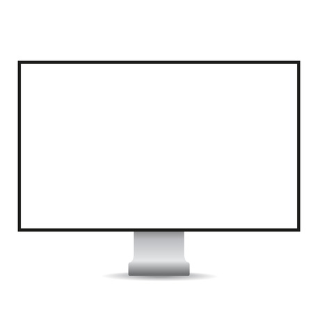 display: Computer display with blank white screen vector