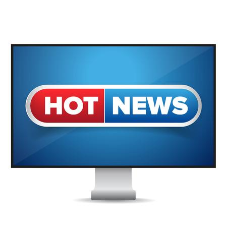 news cast: Hot news TV screen vector