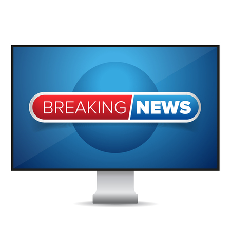 news cast: Breaking news TV screen vector Illustration