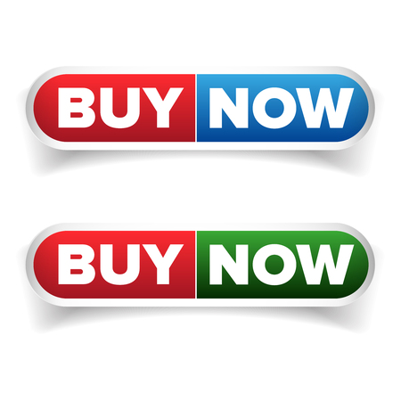 caddie: Buy Now button set vector isolated Stock Photo