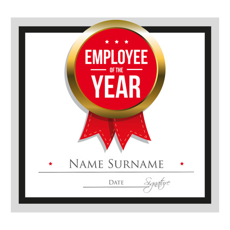red ribbon week: Employee of the year certificate template Illustration
