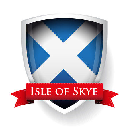 british isles: Scotland Flag with Isle of Skye sign