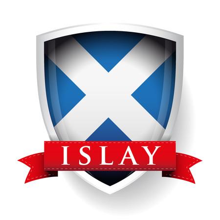 Drapeau de l'Ecosse avec le signe Islay sur ruban Illustration
