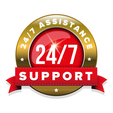 Red 247 support badge with ribbon and gold border Illustration
