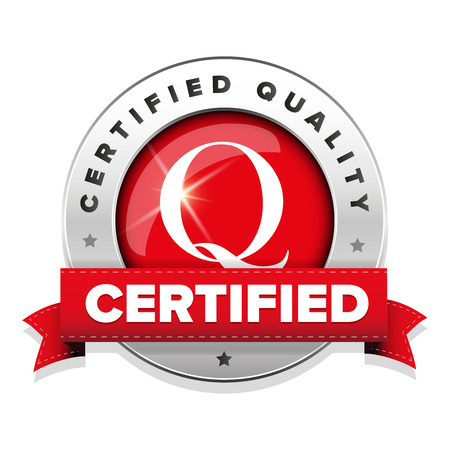 Certified quality badge with red ribbon Illustration