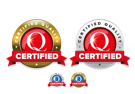 Certified quality badge with red ribbon set Illustration