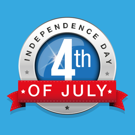 Fourth of July - Independence Day badge with ribbon