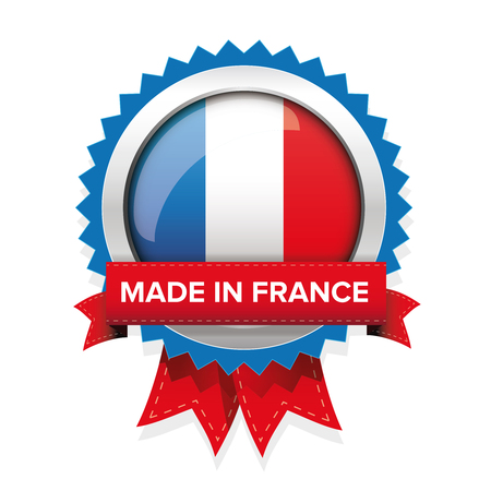 Made in France badge with ribbon