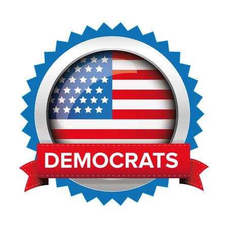 democrats: Democrats election badge vector