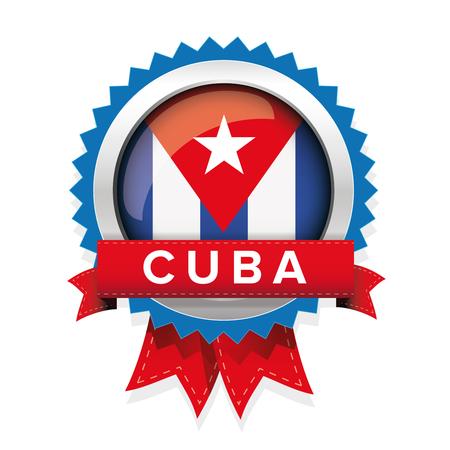 bandera cuba: Cuba flag button badge Vectores