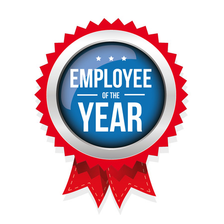 red ribbon week: Employee of the year badge with ribbon