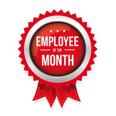 month: Employee of the month badge with ribbon
