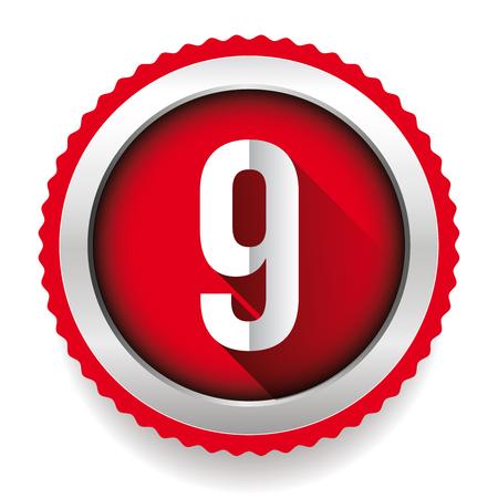 numero nueve: Number Nine badge vector Vectores