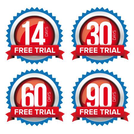 Free trial badges vector set
