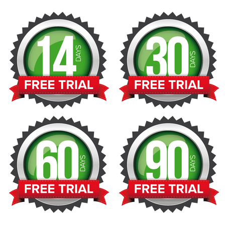 Free trial badges vector set with ribbons