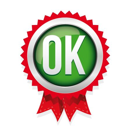 approval icon: OK badge vector green Illustration