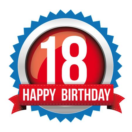 Achttien jaar happy birthday badge lint Stockfoto - 67159297