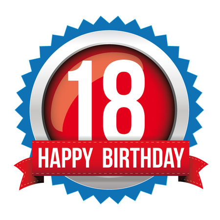 Eighteen years happy birthday badge ribbon Banco de Imagens - 67159297