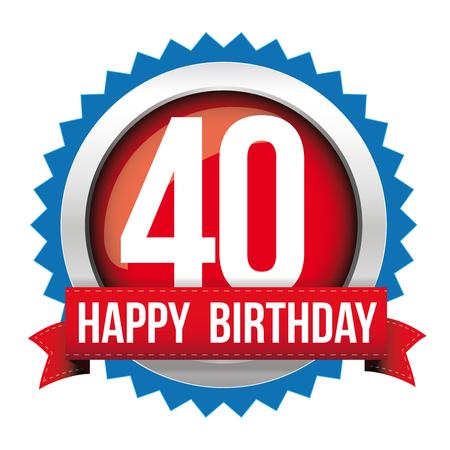 40 년 생일 축하 인사말 리본