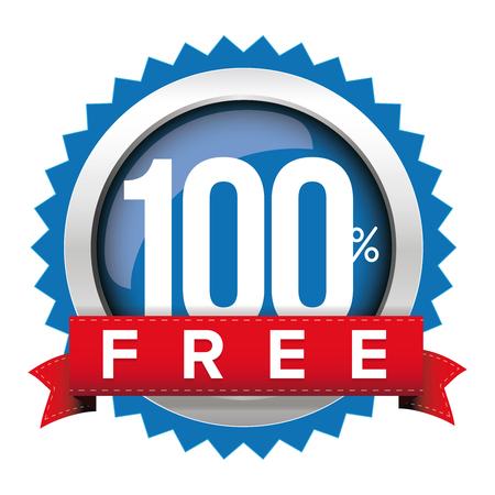 Hundred percent free badge with ribbon Banco de Imagens - 67806566