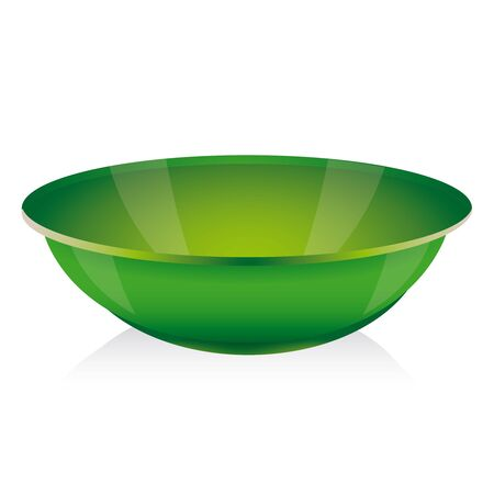 chinese food container: Green bowl vector on white Illustration