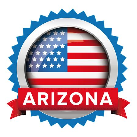 congress: Arizona and USA flag badge vector Illustration