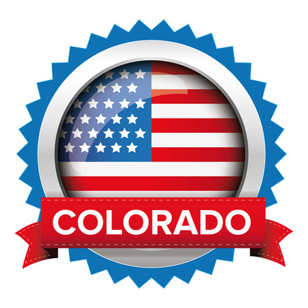 congress: Colorado and USA flag badge vector