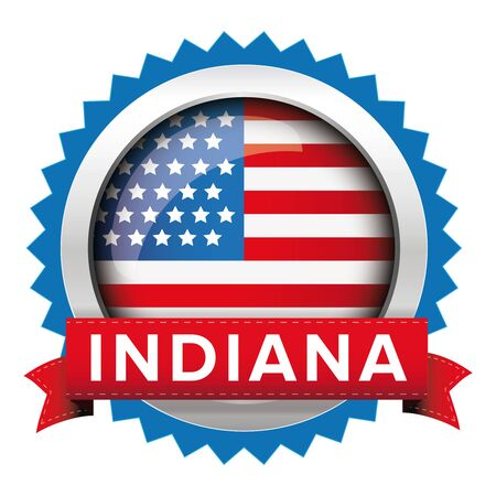 indiana: Indiana and USA flag badge vector Illustration