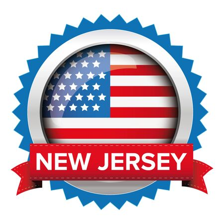 new jersey: New Jersey and USA flag badge vector Illustration