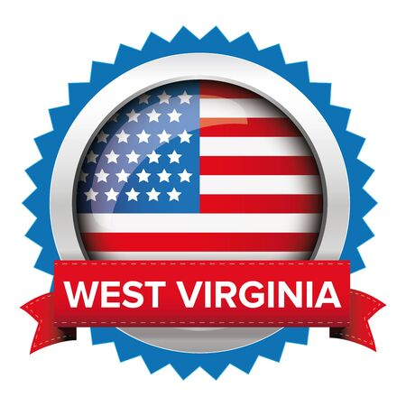 congress: West Virginia and USA flag badge vector Illustration
