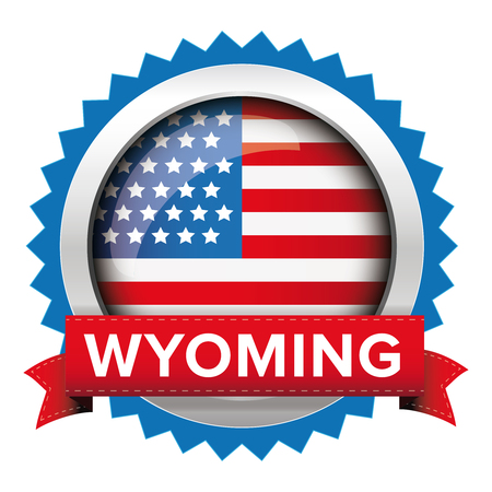 congress: Wyoming and USA flag badge vector