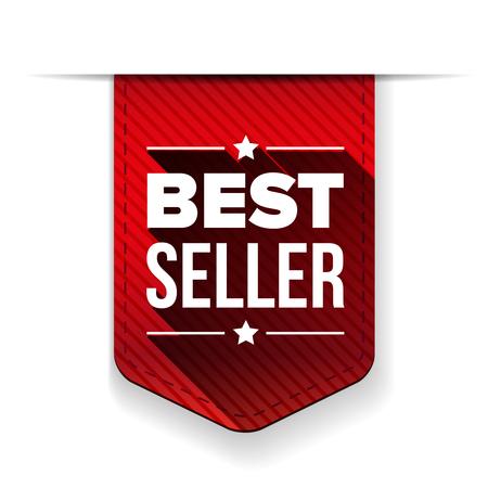 seller: Best Seller red ribbon vector Illustration