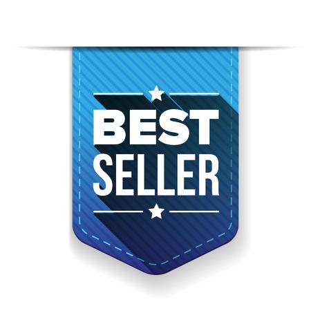 seller: Best Seller blue ribbon vector Illustration