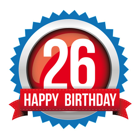 twenty six: Twenty six years happy birthday badge ribbon