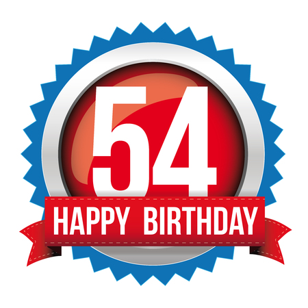 50 54 years: Fifty Four years happy birthday badge ribbon Illustration