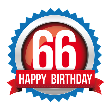 sixty six: Sixty Six years happy birthday badge ribbon Illustration