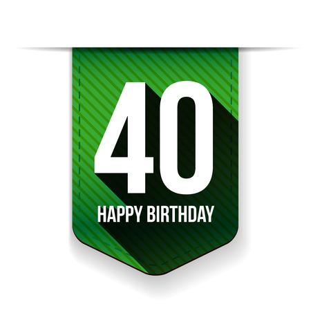 Fourty years happy birthday ribbon