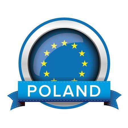 bandera de polonia: Botón del indicador de la UE con Polonia cinta Vectores