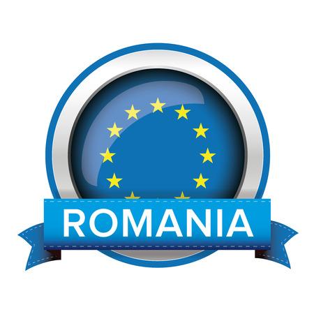 eu: EU flag button with Romania ribbon